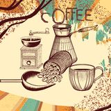 Coffee retro poster with hand drawn coffee mill, mug and coffee Stock Photography