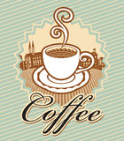 Coffee in retro style. Banner for coffee in retro style with cup of coffee on background of old town royalty free illustration