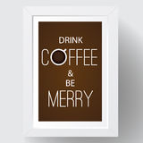 Coffee, retro, stylish art in frame. Royalty Free Stock Photo