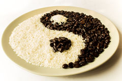 Coffee and Rice. For Yin-Yang is background Royalty Free Stock Photo