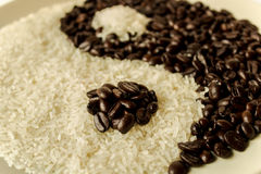 Coffee and Rice. For Yin-Yang is background Royalty Free Stock Image