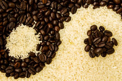 Coffee and Rice. For Yin-Yang is background Stock Photography