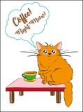 Coffee right meow!. Vector illustration with funny cartoon cat and a cup of coffee Stock Photo