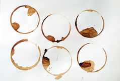 Coffee rings. Spilled coffee in coffee ring stains Stock Photo