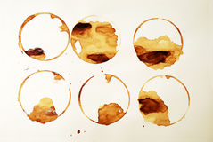 Coffee rings. Multiple coffee in coffee ring stains Stock Photography