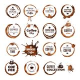 Coffee rings badges. Labels with dirty circles from tea or coffee cup restaurant logo template. Coffee espresso premium, badge splash stain from mug royalty free illustration
