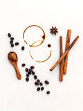 Coffee rings and Coffee beans,star anise ,cinnamon and brown sug Stock Images