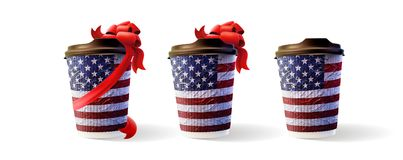 Coffee Ripple Cup with a Red Bow and USA Flag. On White Background Vector EPS10 Royalty Free Stock Images