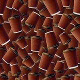 Coffee Ripple Cups Seamless Pattern Stock Image