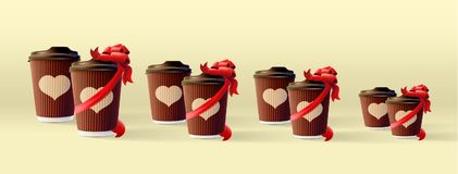 Coffee Ripple Cups Couples With A Ribbon and Heart Image. Vector EPS10 Royalty Free Stock Photography