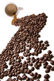 Coffee river. (coffee grain and cup Stock Photos