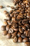 Coffee roast aromatic beans close up view Stock Images