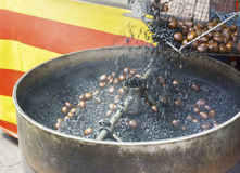 Coffee roasted chestnuts. Being sold at stalls in Chinatown Malaysia stock photo