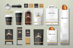 Coffee roaster black and gold corporate identity template design set Royalty Free Stock Images