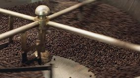 Coffee roaster cooling down stock video