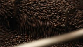 Coffee roaster cooling down stock footage