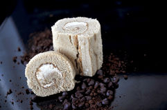 Coffee Roll Cake on Black Tray Stock Photo