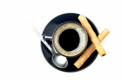 Coffee and Rolled Wafers Stock Images