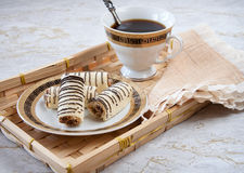 Coffee with rolls. Royalty Free Stock Photography
