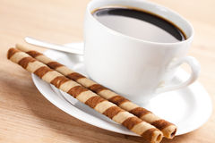 Coffee rolls and cup Stock Photography