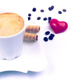 Coffee, rolls and heart Stock Photography