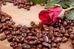 Coffee and rose Royalty Free Stock Images