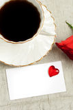 Coffee, rose and card Stock Image