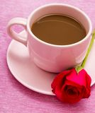 Coffee And Rose Means Caffeine Beverage And Decaf. Coffee And Rose Representing Valentines Brew And Coffees royalty free stock photo