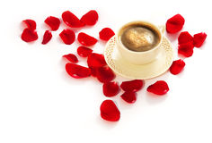 Coffee and rose petals Royalty Free Stock Images