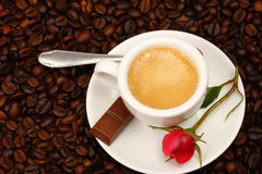 Coffee with  rose Stock Images