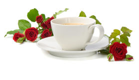 Coffee and roses Stock Photography
