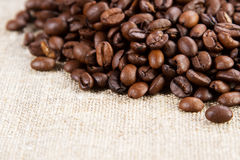 Coffee on a rough cloth Royalty Free Stock Images
