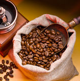 Coffee is in a sack Royalty Free Stock Image