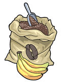 Coffee sack and bananas. Colorful illustration of a coffee sack and three bananas Royalty Free Stock Photography