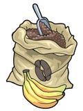 Coffee sack and bananas. Colorful illustration of a coffee sack and three bananas stock illustration