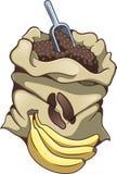 Coffee sack and bananas stock image