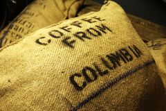 Coffee Sack. Coffee in a harbor warehouse stock image
