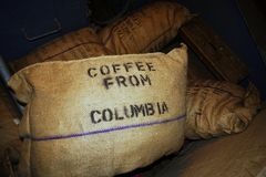 Coffee Sack. Coffee in a harbor warehouse stock images