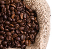 Coffee in a sack in left side Stock Images