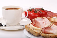 Coffee, sandwich and bacon Royalty Free Stock Photos