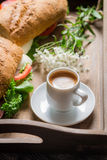 Coffee and sandwich for breakfast Stock Image