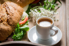 Coffee and sandwich for breakfast Royalty Free Stock Photography