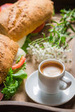 Coffee and sandwich for breakfast Royalty Free Stock Photo