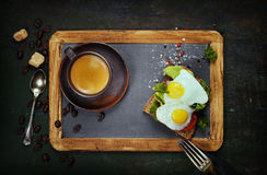 Coffee and sandwich Stock Images
