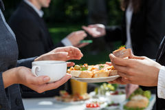 Coffee and sandwiches in work Royalty Free Stock Images
