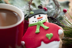 Coffee with santa cookies Stock Photo