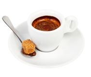 Coffee on a saucer and a spoon with Royalty Free Stock Image
