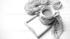 Coffee and scarf background black and white color style Royalty Free Stock Image