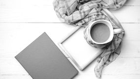 Coffee and scarf background black and white color style Royalty Free Stock Photography