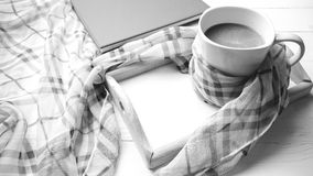 Coffee and scarf background black and white color style Royalty Free Stock Photos